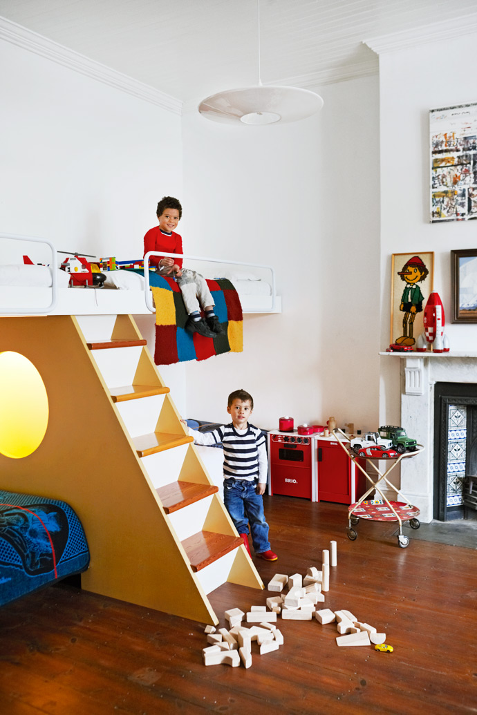 The Wolffs designed the double bunk beds in the boys' bedroom themselves. Oscar and Samuel sleep on the bottom bunks, and the top bunks offer ample space for playor for friends to sleep over.