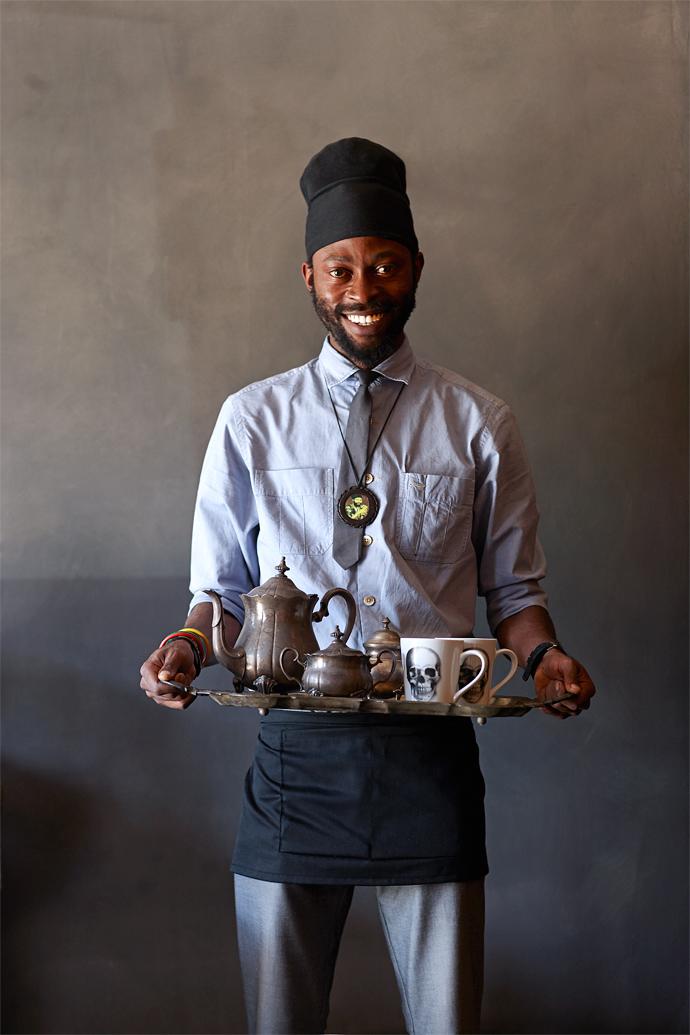 Coffee isserved by Mandla Mkandla.