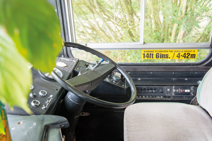 Adam wanted to keep as many original features as possible to preserve the bus's character. When you're travelling on a bus the bells, seats and handrails don't usually catch your attention, but out of context you notice their design, their functional and sturdy manufacture, and their charm.