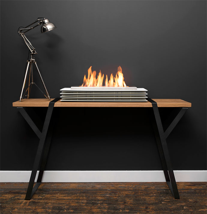 Contour Signature Classic powder-coated table-top fireplace, R20788.