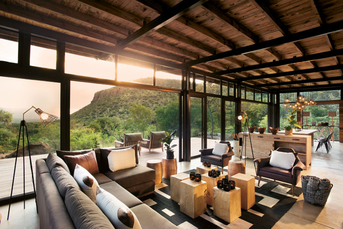 The communal area affords an unparalled view of the sunset over the verdant Waterberg landscape.