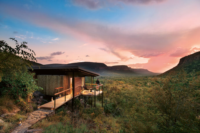 Marataba Trails Lodge is in a 23000ha private concession within Marakele National Park. Each suite has a private shaded viewing deck.