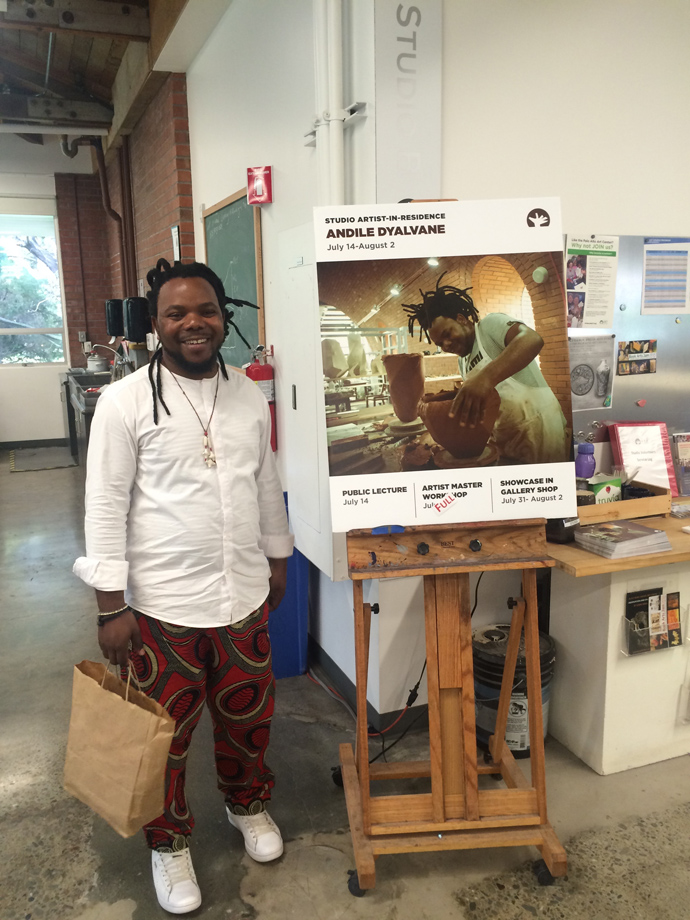 A collector of Andile's work invited him to the Palo Alto Art Center for an artist residency, where he gave lectures, workshops, exchanged knowledge and created a new body of work.