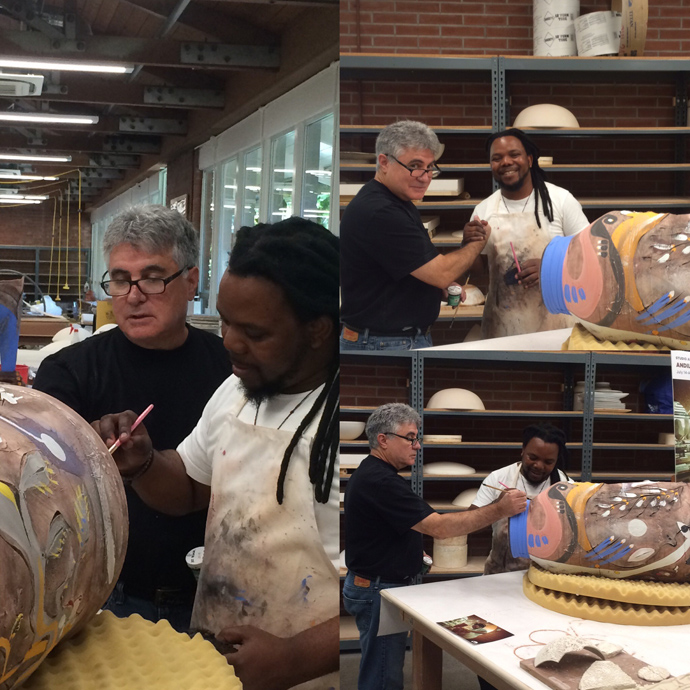 As part of his practice Andile always makes sure to collaborate with other artists when he travels. He is collaborating here with Gary Clarien, Palo Alto Art Center's ceramics shop steward.