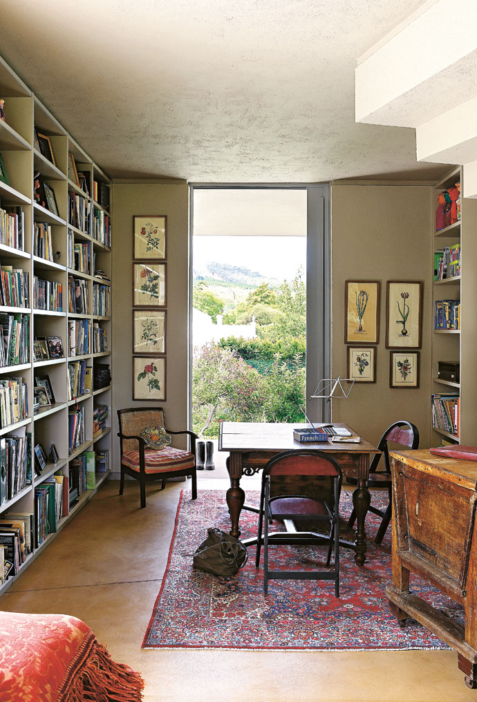 René's office, also the library, overlooks the vegetable garden. A collection of botanical drawings adorns the wall.