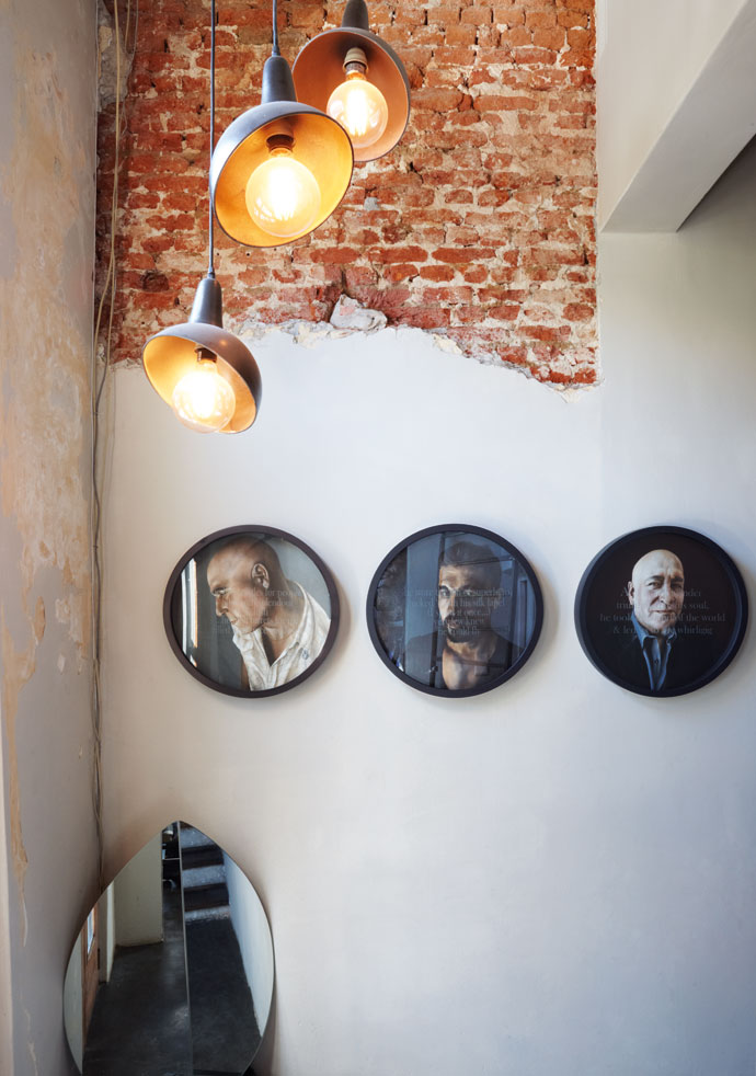 Vanessa Berlein painted the portraits of the Haas co-owners, from left, Francois Irvine, Glynn Venter and Francois de Villiers.