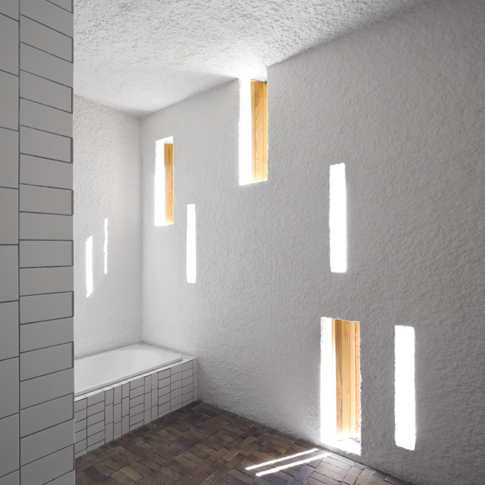 LED lighting strips are concealed within the slot windows, so there are no exposed light fittings.