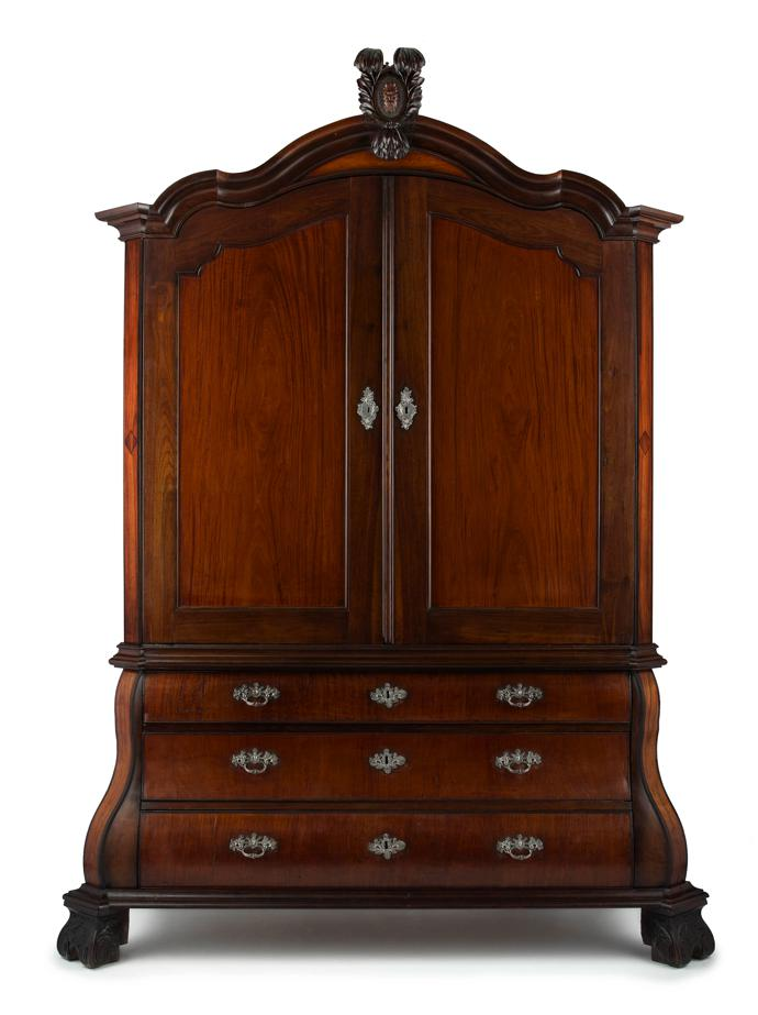 18th century Cape stinkwood, satinwood and silver-mounted armoire