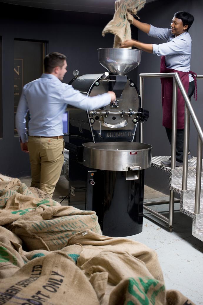 Stefan Gutstadt and Doroida Mothapo in the Coffee Lab Roastery.