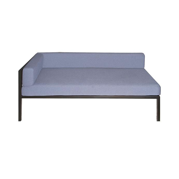Epoxy Coated Stainless Steel Sofa With Fabric Upholstered Loose Cushions