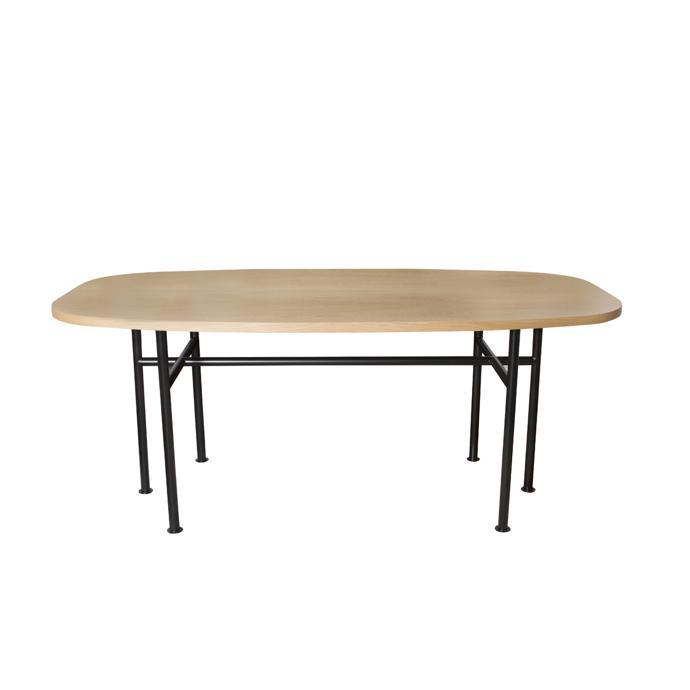 Oak Voe Dining Table On Black Round Tube Frame