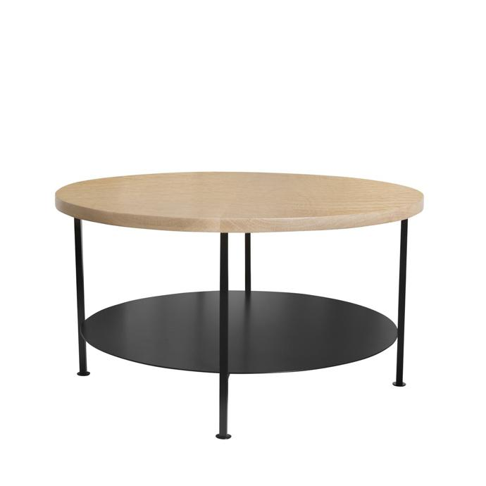 Side Table With Round Oak Top And Steel Shelf
