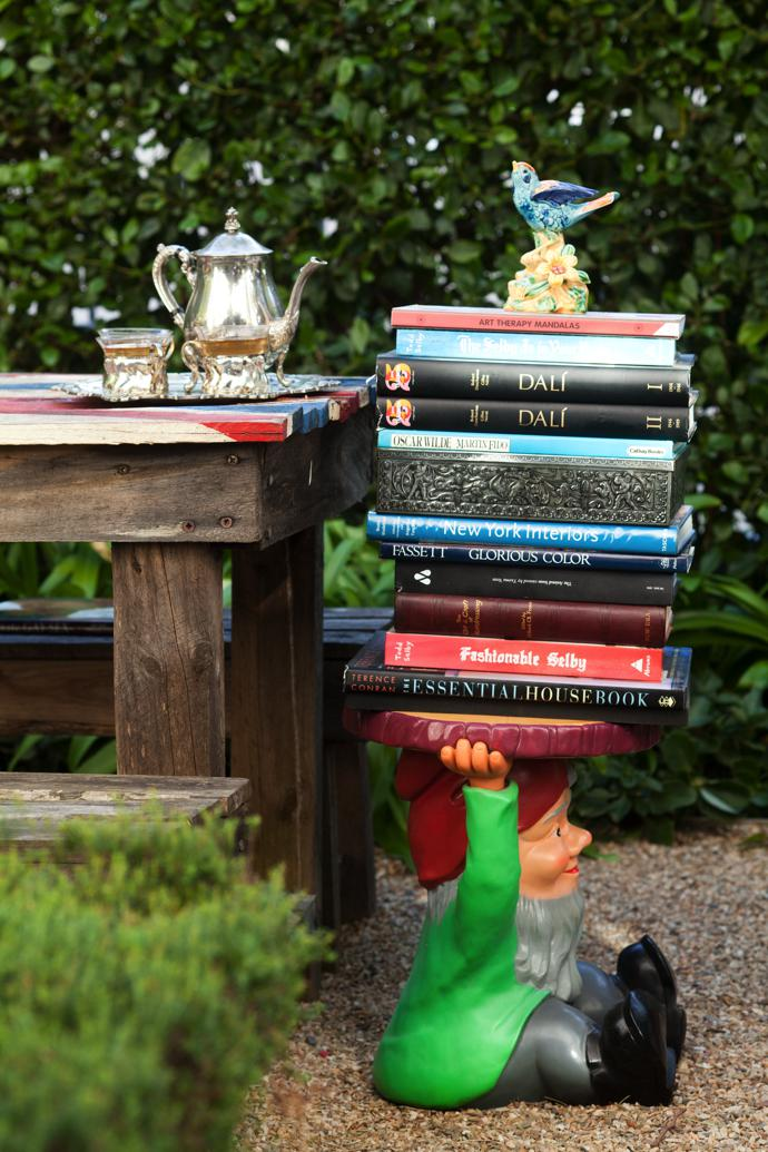 Garden gnomes are normally just decorative, but this one serves a practical purpose.