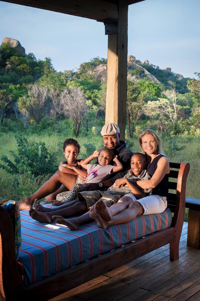 Beks and Sophia chill out with Zenzele, Zahra and Jeremiah on a day bed from Olive Grove in Bulawayo.