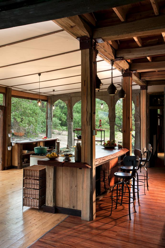 The kitchen was designed by Beks himself. Thebarstools are from La Grange Interiors.