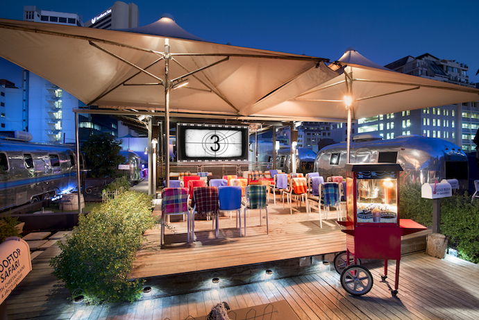 Catch a classic movie at the Pink Flamingo Rooftop Cinema on a Monday night. There's an authentic popcorn machine and you can order a picnic basket and some bubbly. When it gets chilly, you just snuggle under a blanket while you watch the movie.