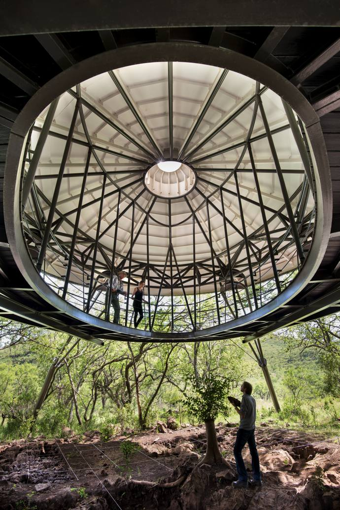The oculus at the top of the roof structure allows light to flood in and aids natural ventilation.