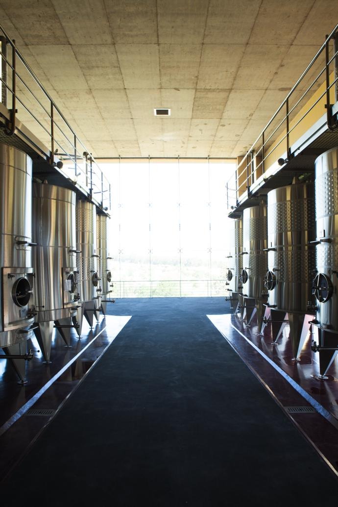 Stainless-steel tanks in Glenelly's state-of-the-art wine cellar.
