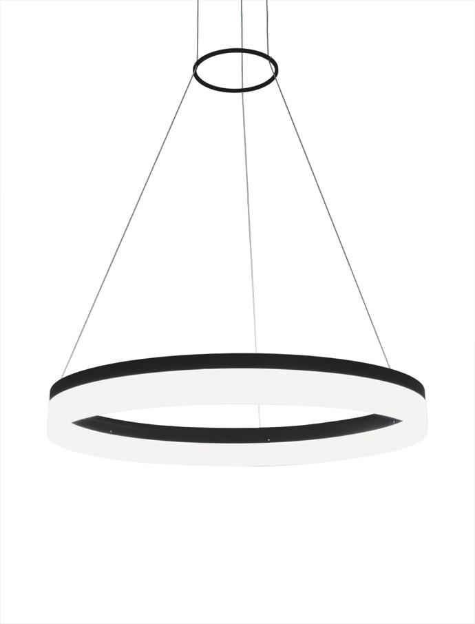 A ring LED decorative pendant available in white and black.