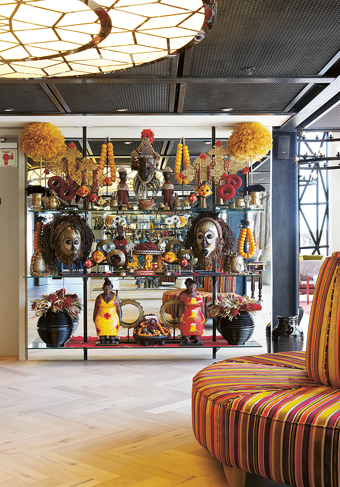 An eclectic collection of African curios, jewellery and accessories selected by Eugene at Tribal Trends. The hotel's warm wooden floors were installed by Oggie Flooring.