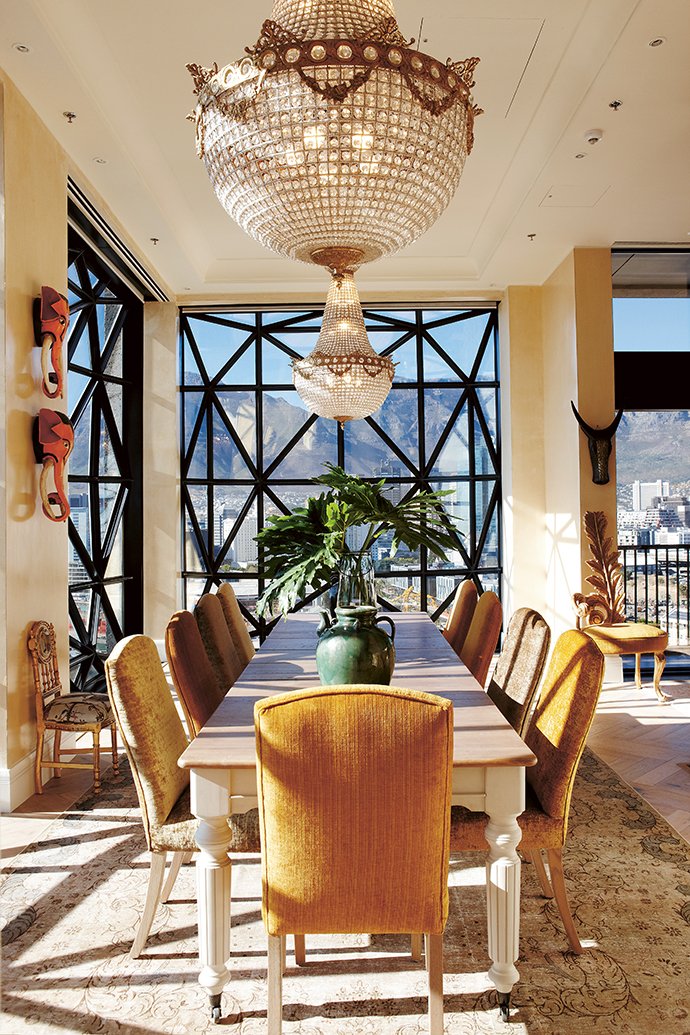 The private dining room in the penthouse is fit for royalty.