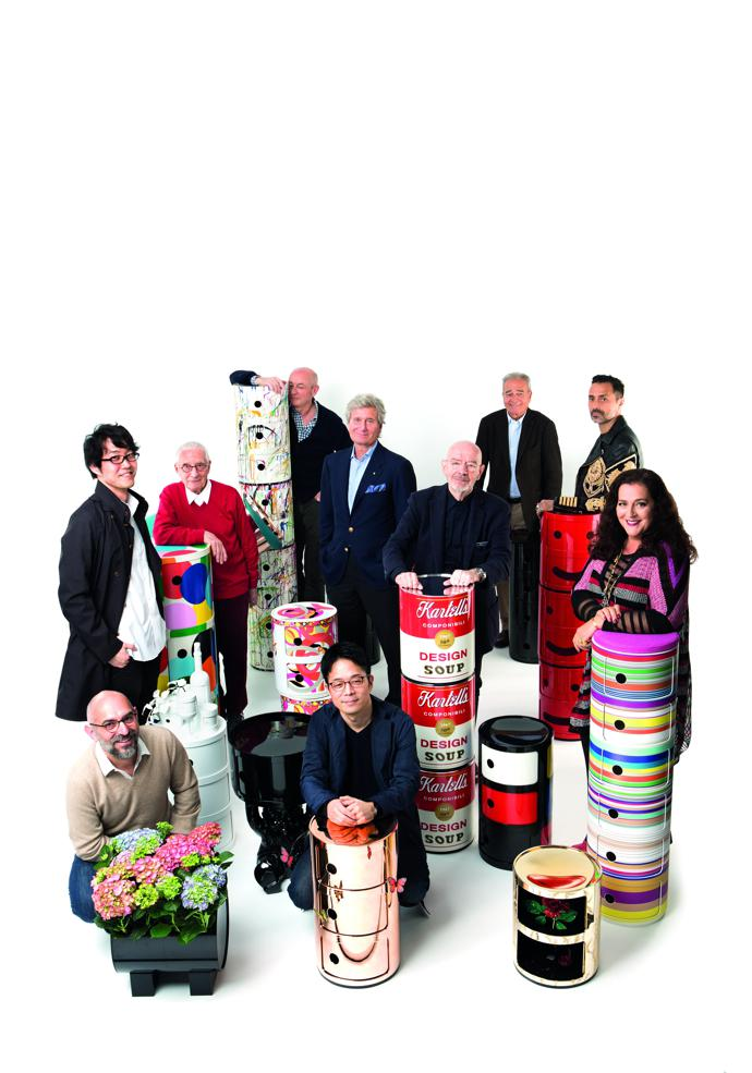 Designers, clockwise from bottom left: Ferruccio Laviani, Nendo, Alessandro Mendini, Piero Lissoni, Kartell President Claudio Luti, Mario Bellini, Alberto Meda, Fabio Novembre, Angela Missoni and Tokujin Yoshioka, pictured with additional pieces by Laudomia Pucci, Philippe Starck, Patricia Urquiola, Antonia Citterio and Walt Disney.