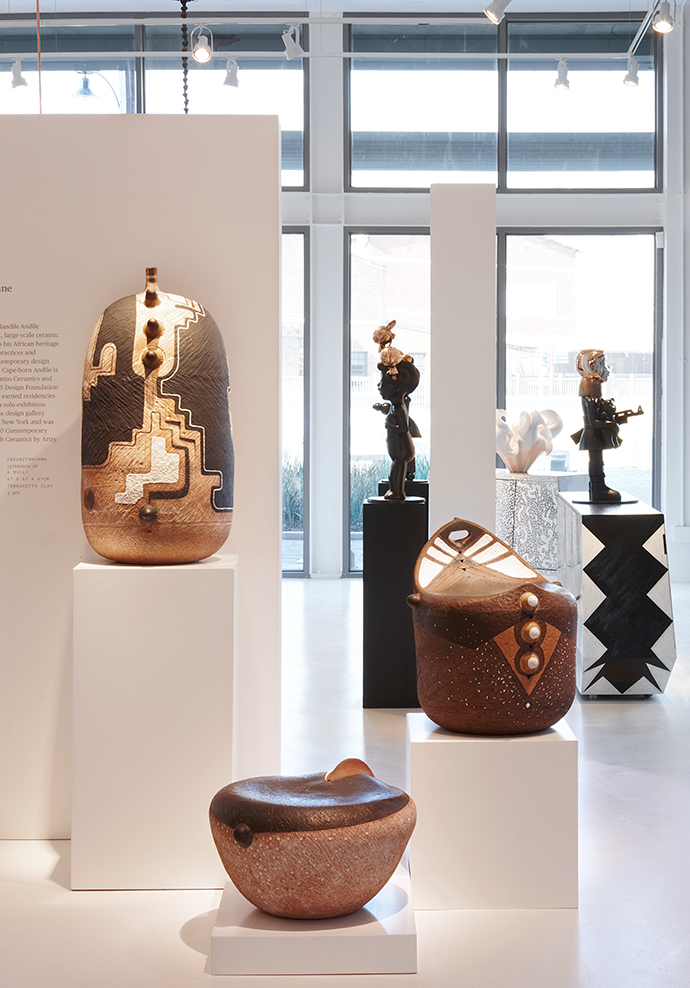 Clockwise from left: Andile Dyalvane's Gaz'tyeketye, Inkunz'emnyama and Isichopho ceramic artworks; sculptures by Justine Mahoney; and Dokter and Misses cabinets – all Southern Guild.