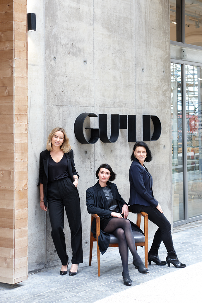 From left, Creative Director Tammy Tinker, Cape Town Gallery Director Lezanne van Heerden and Head of Southern Guild Jacki Lang.