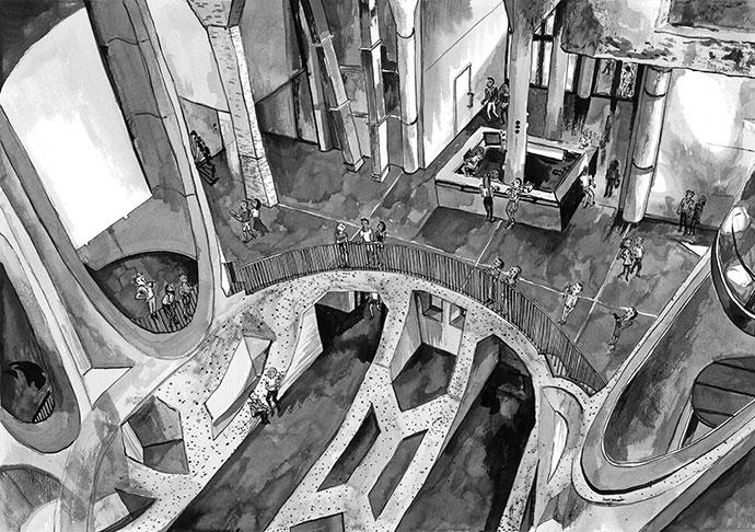 Zeitz MOCAA ink drawings by Lucie de Moyencourt