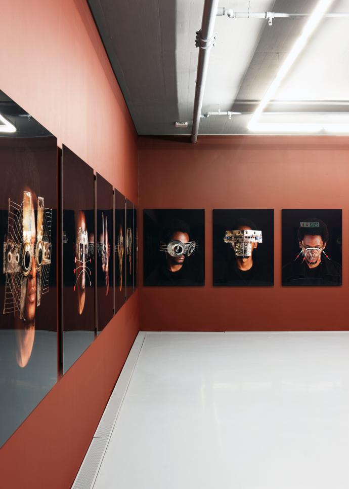 Photographs of Kenyan artist Cyrus Kabiru's sculptural fashion pieces.