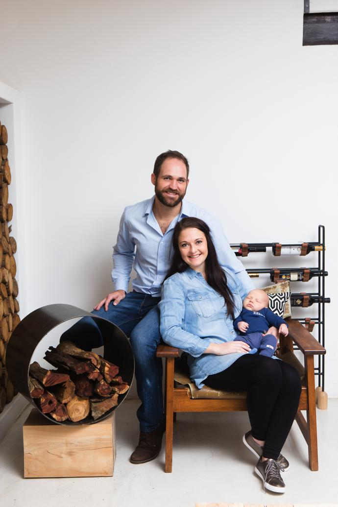 Cornel, Marlize and Uys de Jongh, with a Waterbuck wood holder, R3 795, and Franc wine rack, R3 295.