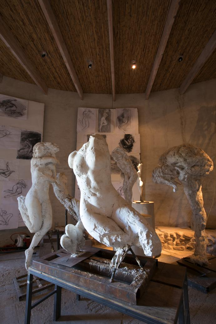 """Stone steps lead down to the plaster room, a visual representation of the process behind Dylan's work, drawing from life, creating an armature and then making the sculpture itself. His shift away from the animal form to the human was part of his break with an old belief system. """"It was a break with the animal form, movement into the human form and nudity, which up until that point had been taboo. It was a break on many levels."""""""