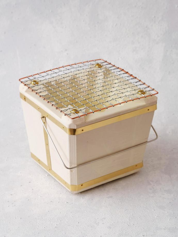 Square Shichirin (17 cm) by Noto Nenshouki, R1 150. Shichirin are traditional Japanese portable coal stoves used for cooking food at the table, or outside. They are sometimes also referred to as