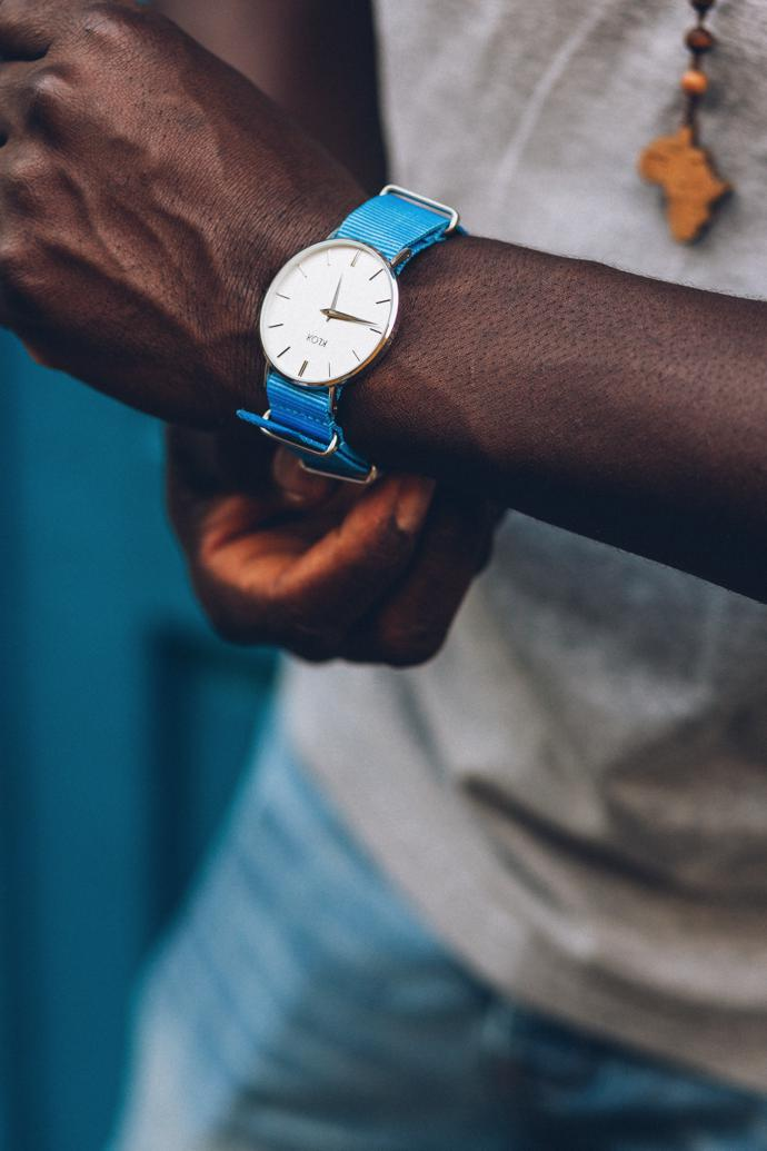 St James Watch with a Blue Skies Nylon Strap, R2 190.