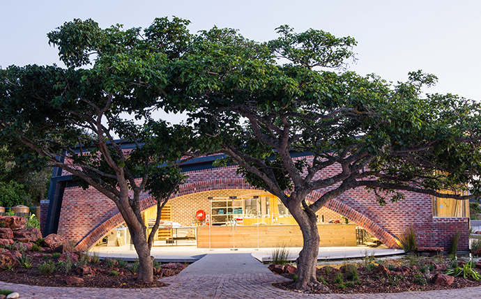 The entrance of the building, a graceful arch, was designed to be framed by the existing coral trees.
