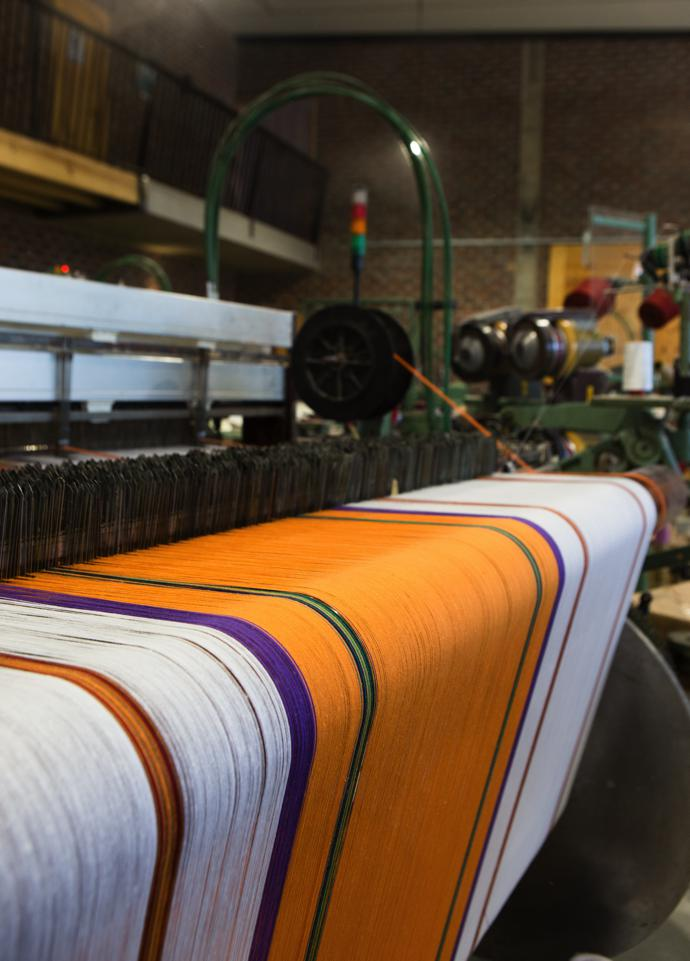 The 100% cotton warp that is destined to be Mungo's Boma napkins. It takes about 3 hours to weave 20 m of fabric on the Dornier looms, whereas on the older Lancaster looms it could take as long as three weeks.