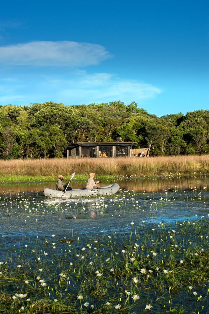 The lodge is located on the banks of the Munde Stream, and canoeing is one of the activities offered in the rainy season. There are no hippos or crocodiles in the area to scare the unwary.