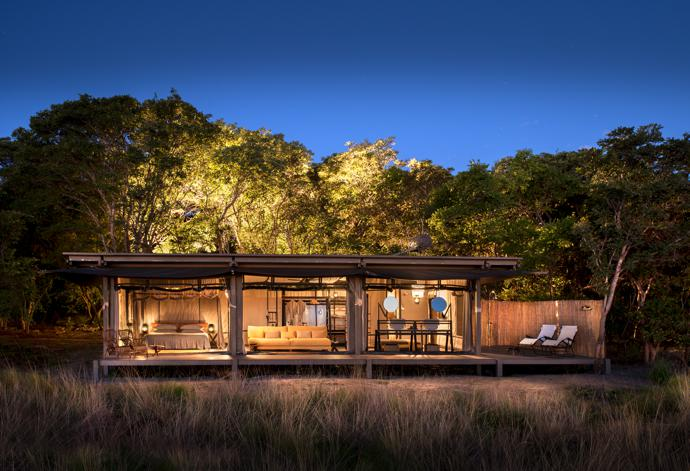Modern design is mixed with traditional safari elements in the six villas at King Lewanika Lodge, which accommodate up to 15 people.