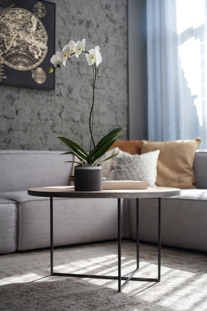 """After. The L-shaped sofa is the """"Sven"""" from Coricraft. The coffee table was designed by George and repurposed from a previous one."""