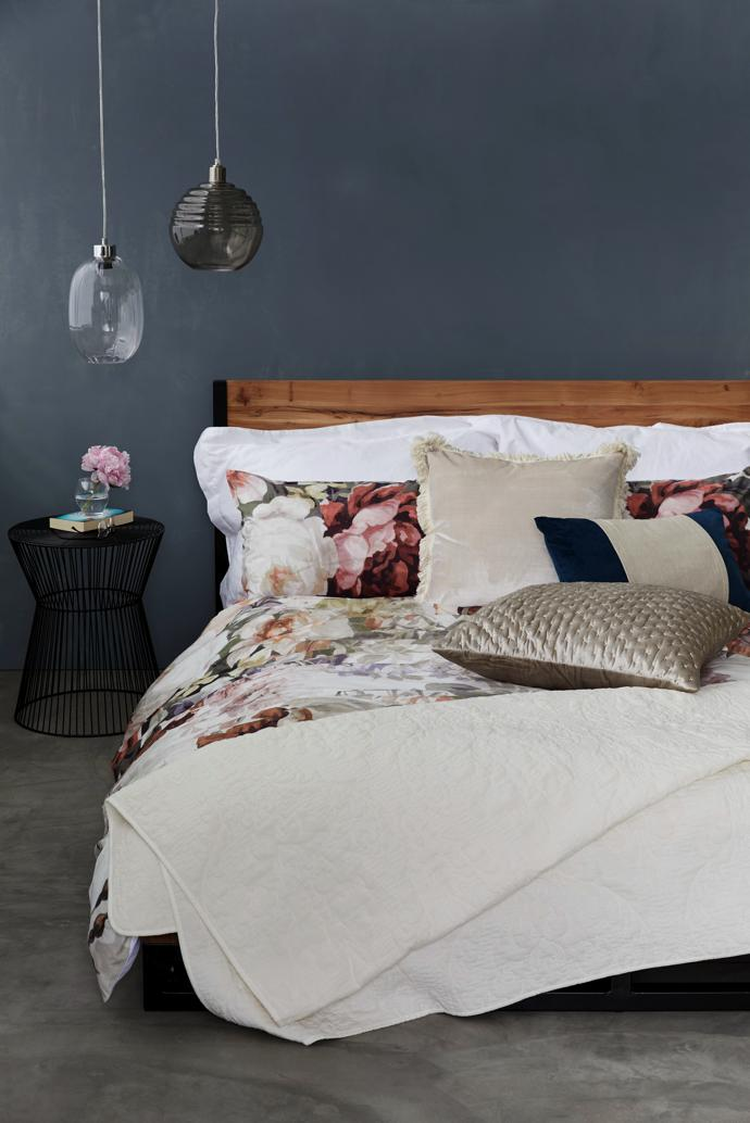 Flourish: Extra Length Dune Queen-size Bed, Queen-size Giant Watercolour Floral Duvet Cover Set, Black Archin Side Table, Panel Linen Scatter Cushion.