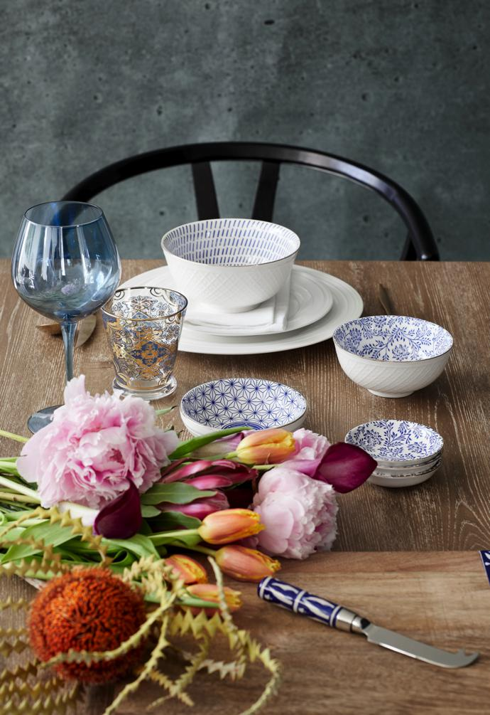Flourish: Blue with Gold Rim Dash Bowl, White Athens Dinner Plates, Blue Red Wine Glass, Blue Printed Moroccan Printed Tumbler, Blue with Gold Rim Fine Lines Bowl, Blue with Gold Rim Daisy Bowl, Moroccan Cheese Platter with Knife Tile Set.