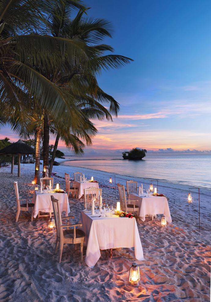 The staff at Aiyana go all out to spoil guests. Special touches include lighting oil lamps in the evenings and scattering blossoms along a path to the dining tables, carried out to the beach on a balmy evening.