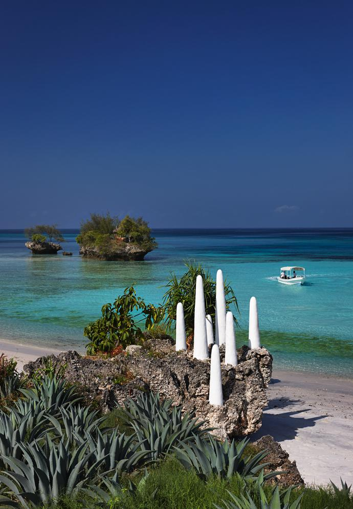 Constance Aiyana overlooks a marine reserve, where commercial fishing is not allowed. The water is shallow close to the shore, and then it drops off to the deep Pemba Channel, between the island and the mainland. The resort's boat is available for guests wanting to go on an outing.