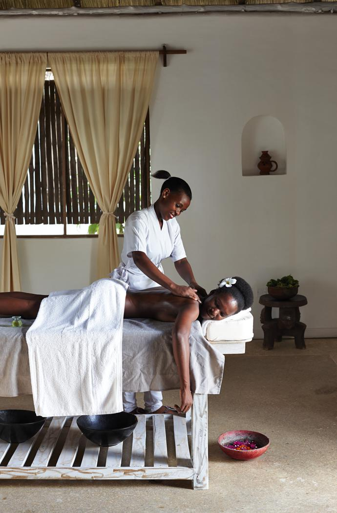 """The healing, cleansing element of water is a prominent feature at Aiyana, in the pools, the large bathrooms, the fountains and ponds, and especially at Maji Spa. """"Maji"""" is Swahili for water. Set in a serene garden, the spa has five treatment rooms and a hydro. The therapists are Elisabeth Chacko and Happiness Evarister."""