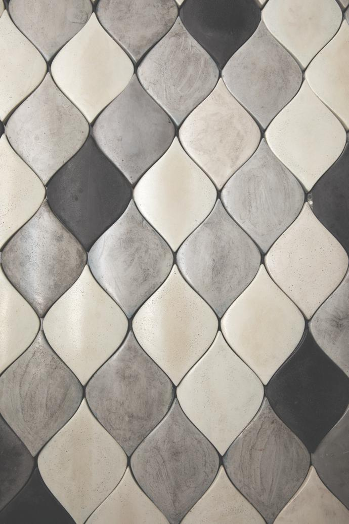 The Wolkberg Leaf Tile in Silk Grey, White and Black.