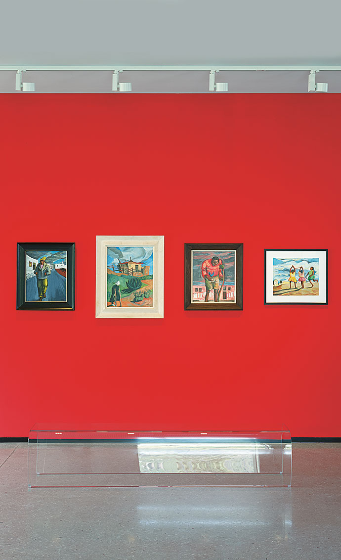 Works by Peter Clarke, one of 12 artists whose works are included in an exhibition.