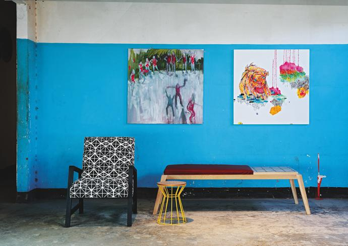 Upholstered chair, bench and stool by Saks Corner. Art from Spier Arts Trust, by Elize Vosgatter and Marlise Keith, respectively.