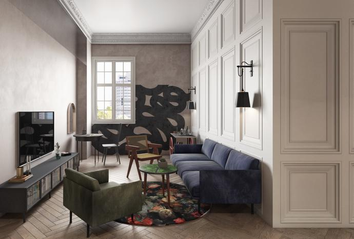 A render of the lounge in of Gorgeous George's suites.