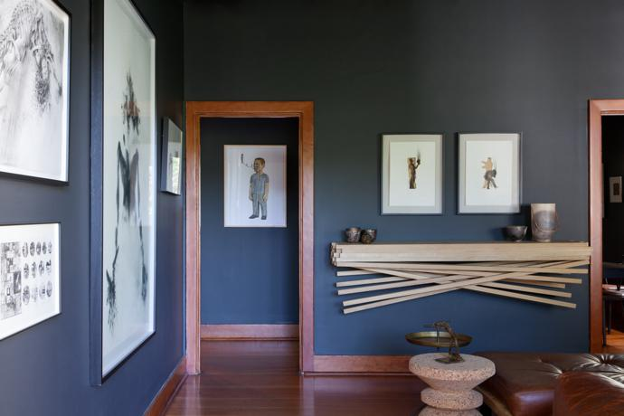Artworks here by Diane Victor (above foreground), Sandi Kuper (below foreground), Kobus Rossouw (large piece in middle and smaller piece in background), Claudette Schreuders in the passageway, and Louis Olivier above the server.