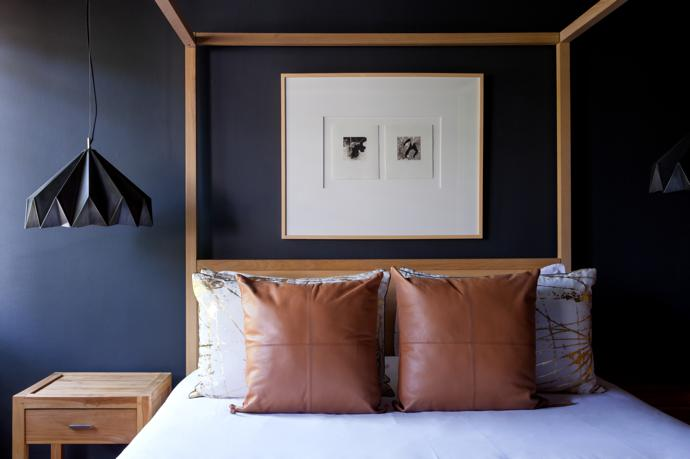 The bed, side tables and pendant lights are all from Weylandts; the cushions are Studio 19; and artwork is by Louis Olivier.